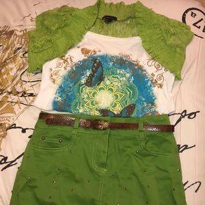 Two Piece Green Skirt & Shirt